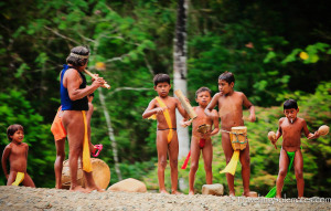 Embera-Children-playing-instruments-Embera-Village-Charges-National-Park-Panama